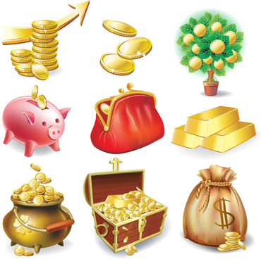 set vector of financial elements icon