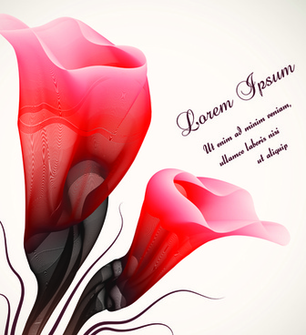set vector of romantic flowers art