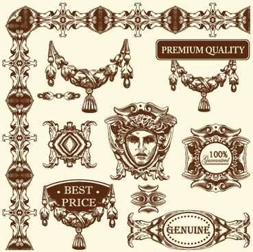 set vintage of retro borders vector art