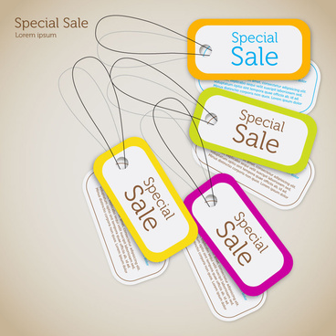 sets of cardboard sale tags with color frames