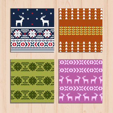 sets of colorful woolen pattern on wooden background