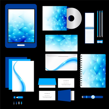 sets of corporate identity with blue bokeh background