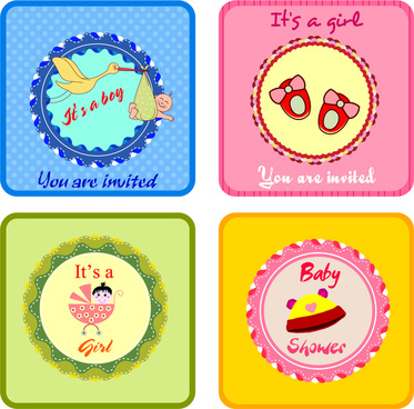 sets of cute baby shower invitation cards