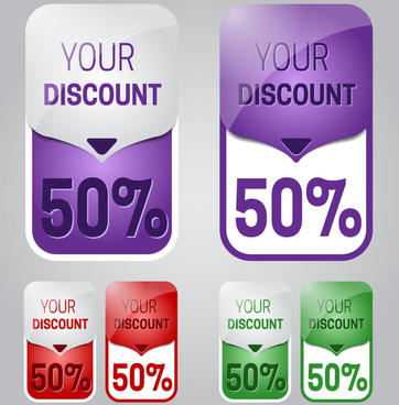 sets of different color discount labels