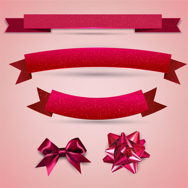sets of red ribbons and knots collection illustration