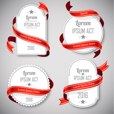 sets of vintage cardboard twined with red ribbon