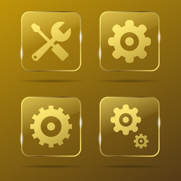settings gold buttons