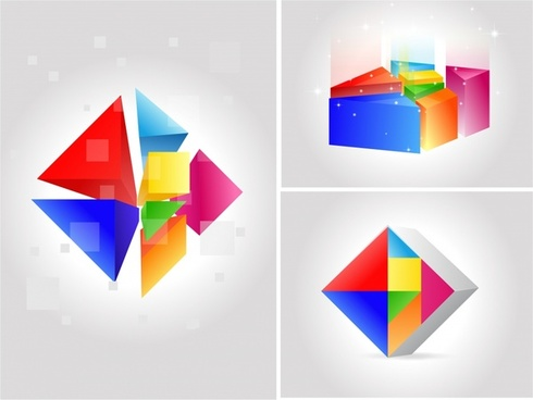 geometric icons modern colorful 3d sketch