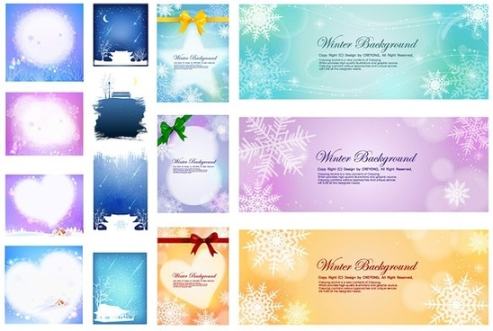 several beautiful winter background vector