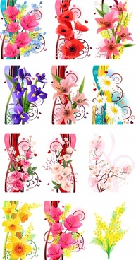 decorative floral templates colorful modern design