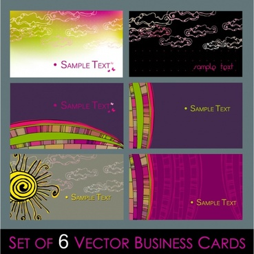 business card templates clouds rainbow sun icons decor