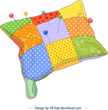 sewing background pillow pins icons colorful 3d design