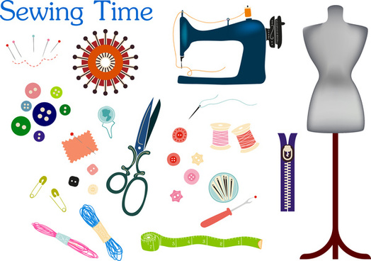 sewing icons vector illustration