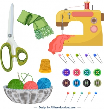 sewing work design elements colored machine tools icons