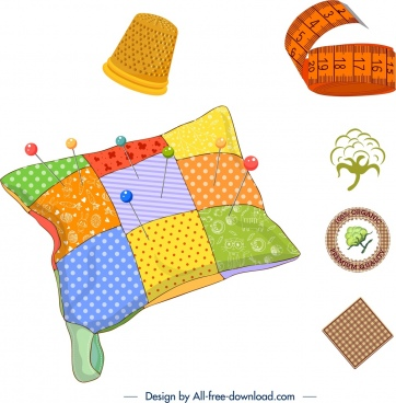 sewing work design elements colorful tools products icons