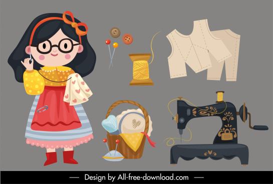 sewing work design elements cute girl tools sketch