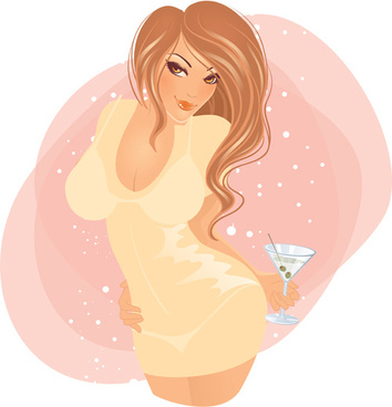 sexy party girl design vector graphics