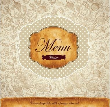 menu cover template classic elegant handdrawn petals decor