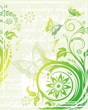 nature pattern butterflies flowers icons sketch classical design