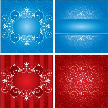 decorative background templates shiny blue red curves decor