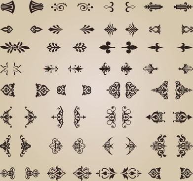 documents decorative elements collection classic elegant symmetric shapes