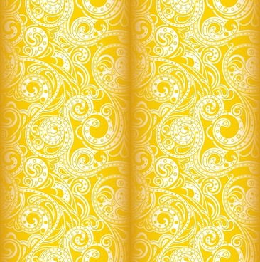 textile pattern template elegant yellow classic 3d sketch