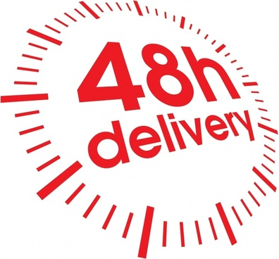delivery advertising banner red clock shape texts decor