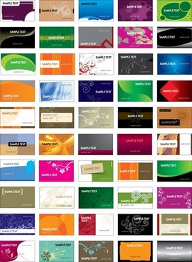 card templates collection colorful modern design