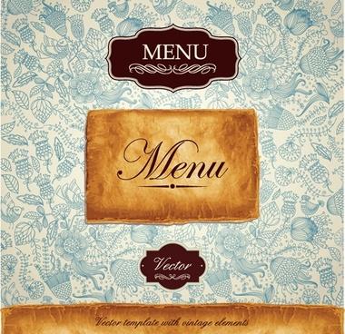menu cover template elegant classical decor