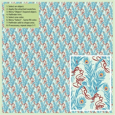 decorative pattern template repeating classical peafowl feathers elements