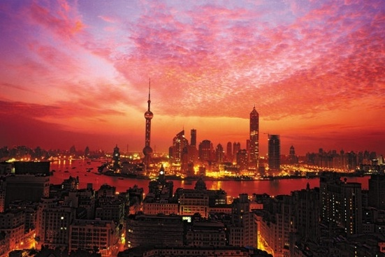 shanghai bund beautiful evening of highdefinition picture