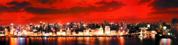 shanghai bund night scene wide highdefinition picture