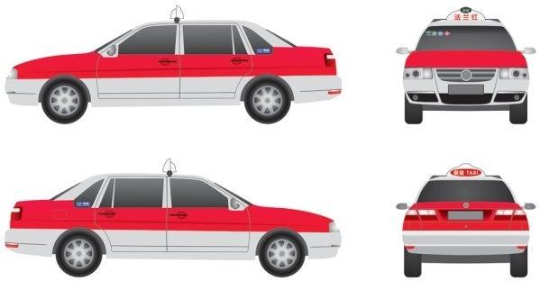 shanghai santana zhijun red taxi threeview painting flange version original