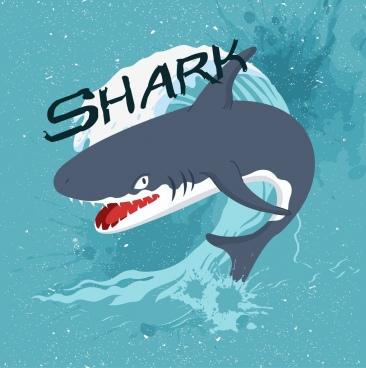 shark drawing grunge classical decor