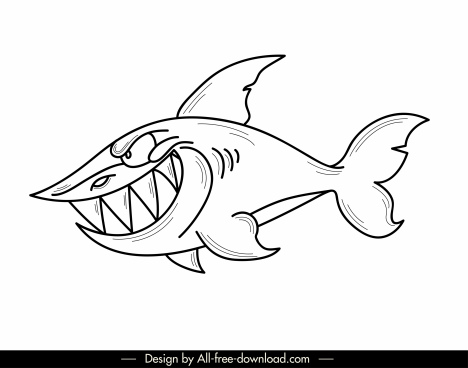 shark icon cartoon character black white hanndrawn design