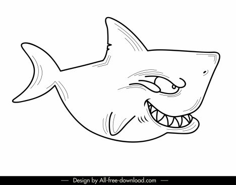 shark icon funny cartoon sketch flat handdrawn design