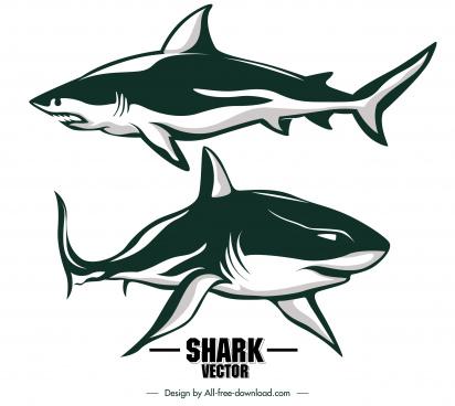 shark icons classic handdrawn sketch