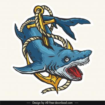shark tattoo icon colorful retro frightening sketch