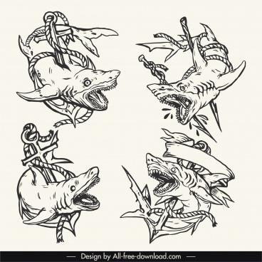 shark tattoo templates scary dynamic handdrawn sketch