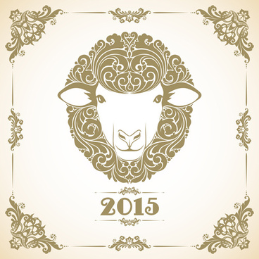 sheep new year15 retro vector background