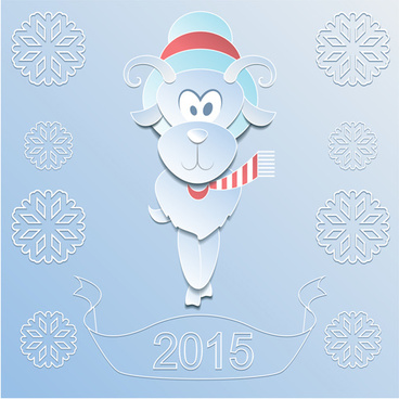sheep with15 snowflake paper background vector