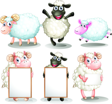 sheeps cute cartoon vectors set