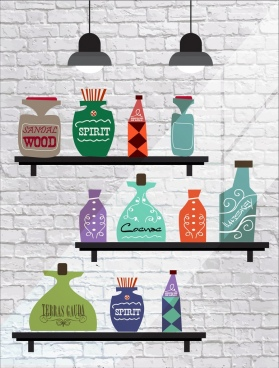 shelf decor drawing bottle icons flat retro design