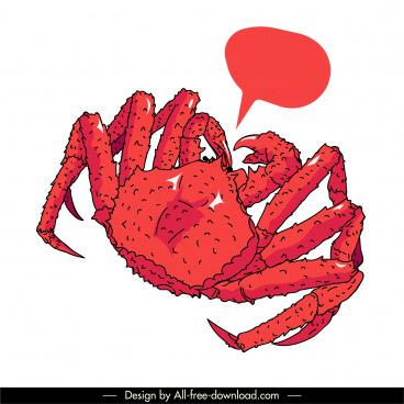 shellfish icon crab sketch red handdrawn