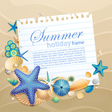 shells and starfishe holiday frame elements vector