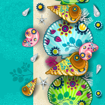 shells with marine elements vector background art