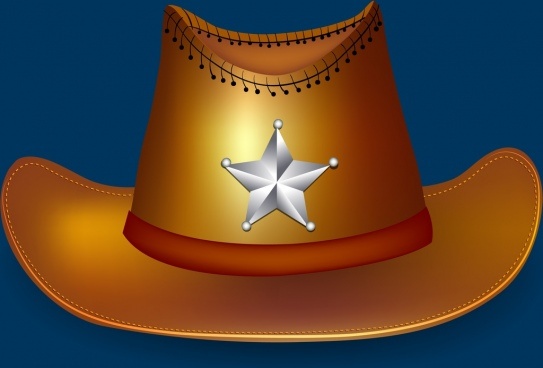 sheriff hat icon shiny 3d brown design