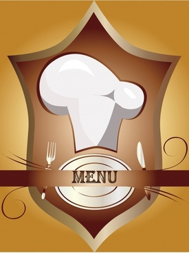 menu cover template hat dishware shield icons decor