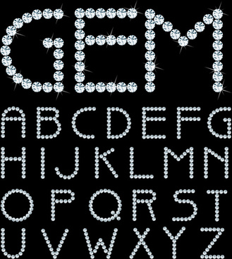 shining diamond letters vector