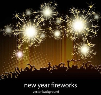 shining fireworks with party background vector
